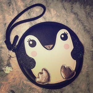 NWOT Luv Betsy Johnson Penguin coin purse wristet